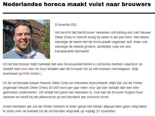 Nederlandse horeca maakt vuist naar brouwers